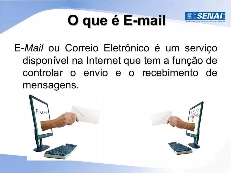 O que é E-mail E-Mail ou Correio Eletrônico é um serviço disponível na Internet que tem a função de controlar o envio e o recebimento de mensagens.