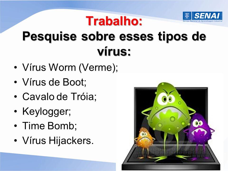 Trabalho: Pesquise sobre esses tipos de vírus: