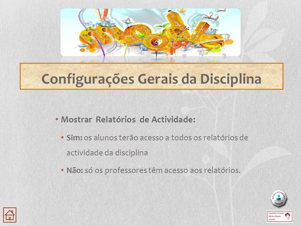 Configurações Gerais da Disciplina