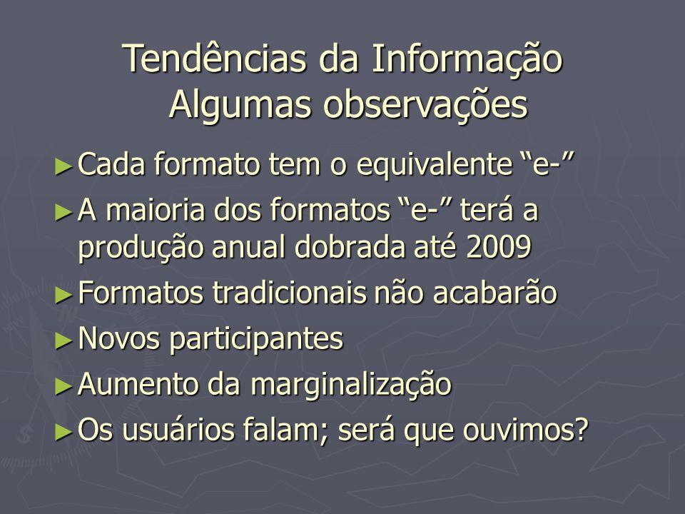 Tendências da Informação Algumas observações