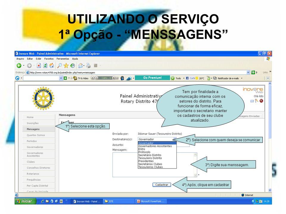UTILIZANDO O SERVIÇO 1ª Opção - MENSSAGENS
