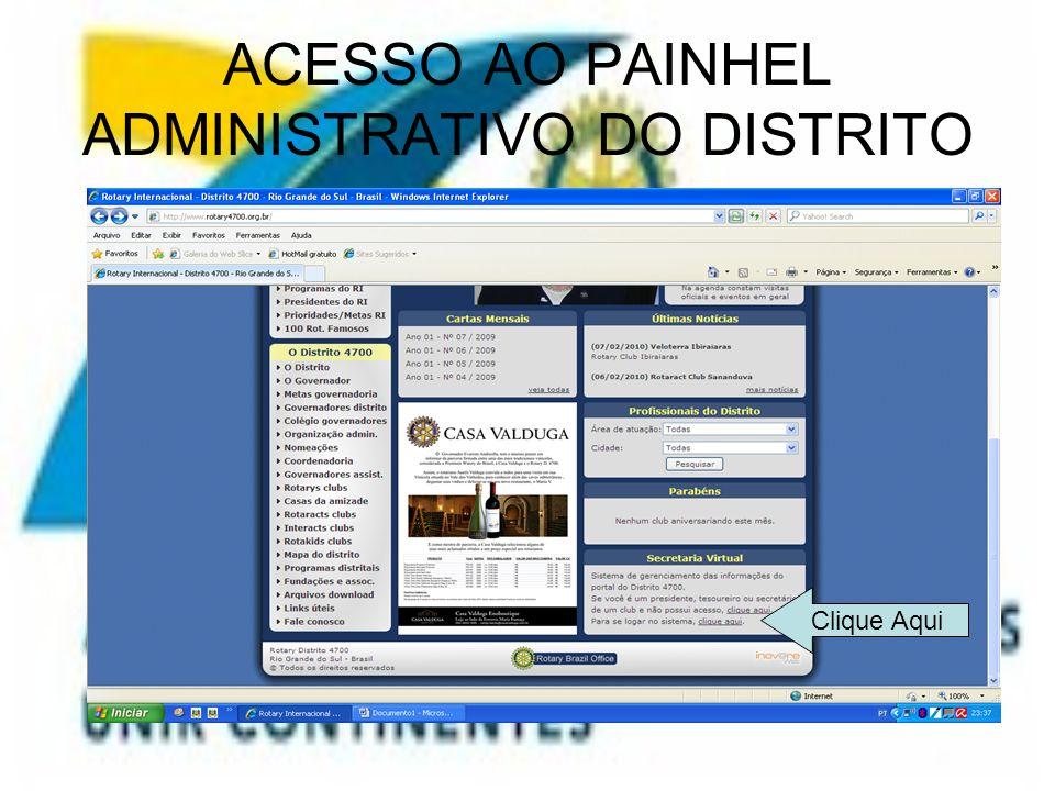 ACESSO AO PAINHEL ADMINISTRATIVO DO DISTRITO