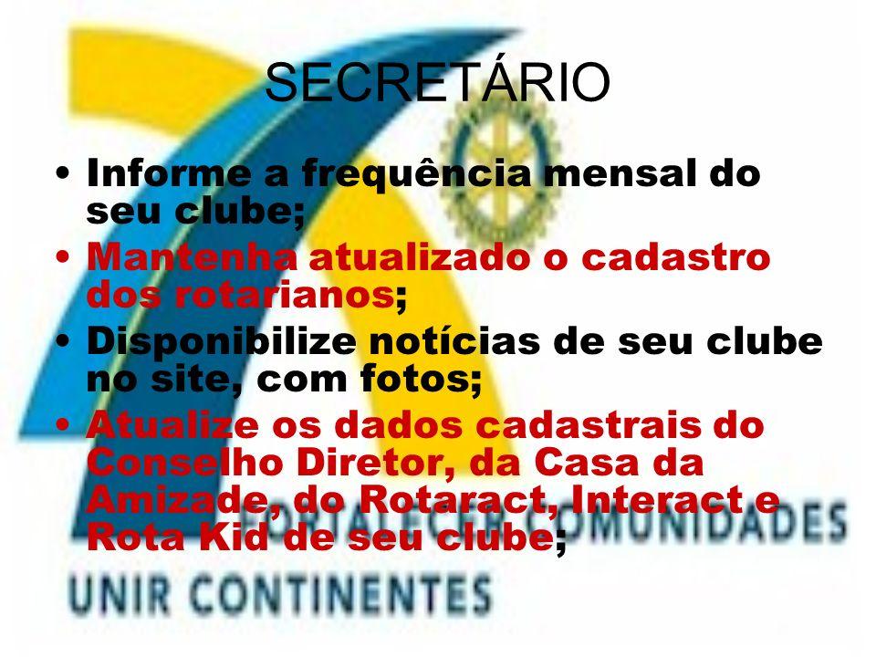 SECRETÁRIO Informe a frequência mensal do seu clube;