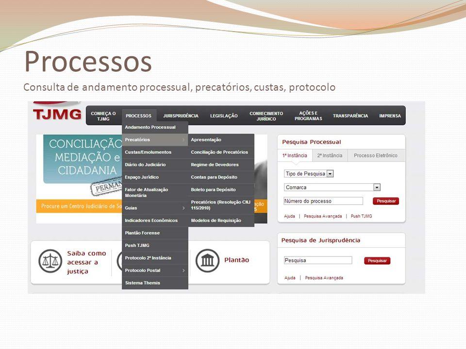 Processos Consulta de andamento processual, precatórios, custas, protocolo