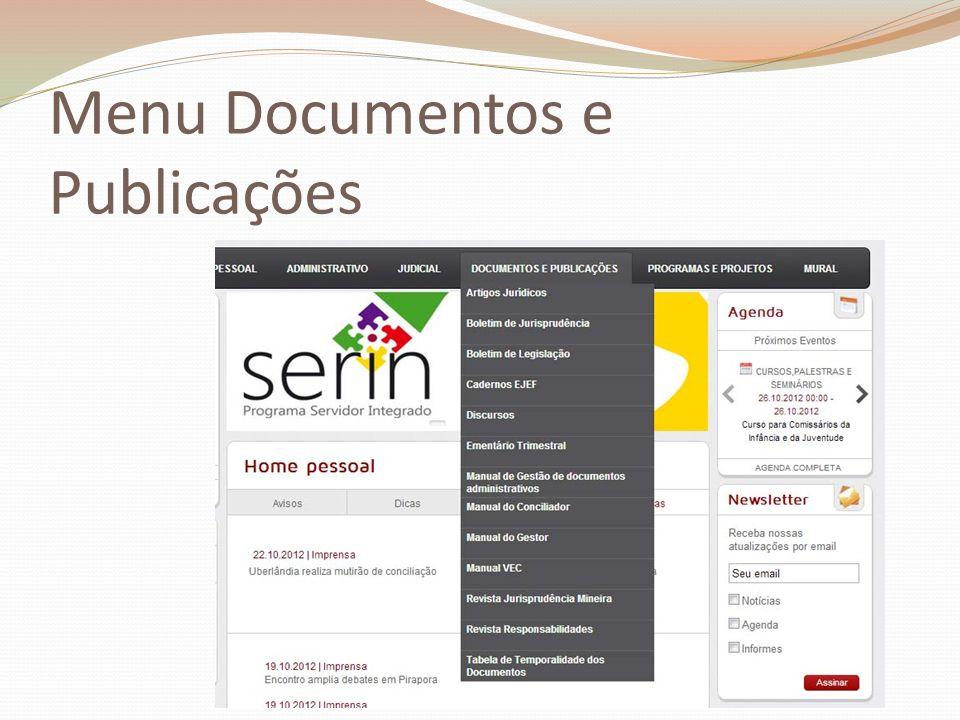 Menu Documentos e Publicações