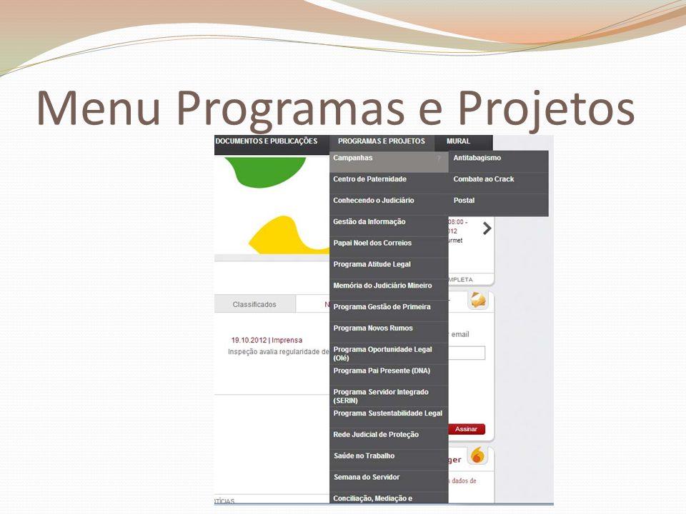 Menu Programas e Projetos