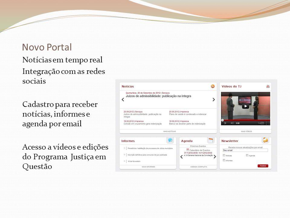 Novo Portal Notícias em tempo real Integração com as redes sociais