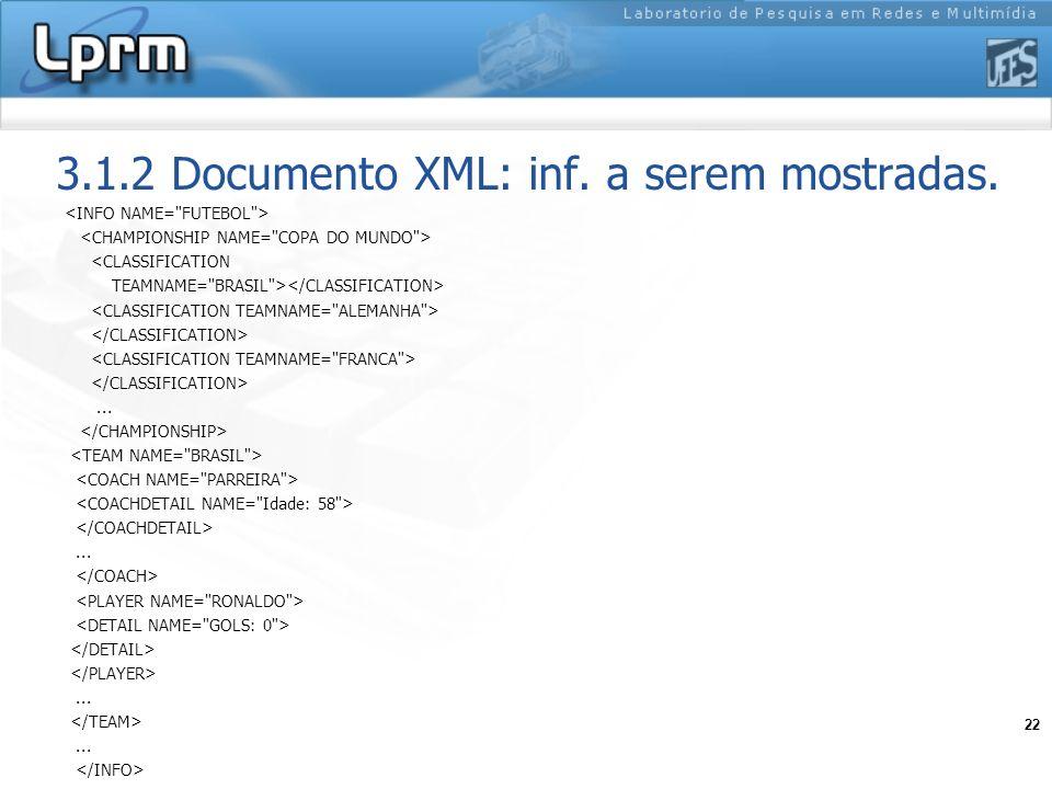 3.1.2 Documento XML: inf. a serem mostradas.