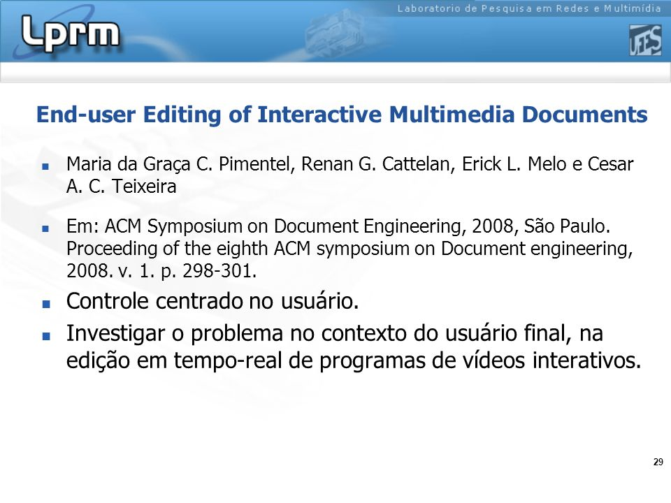 End-user Editing of Interactive Multimedia Documents