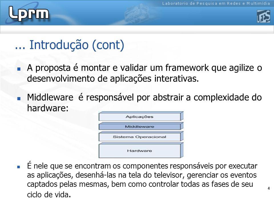 ... Introdução (cont) A proposta é montar e validar um framework que agilize o desenvolvimento de aplicações interativas.