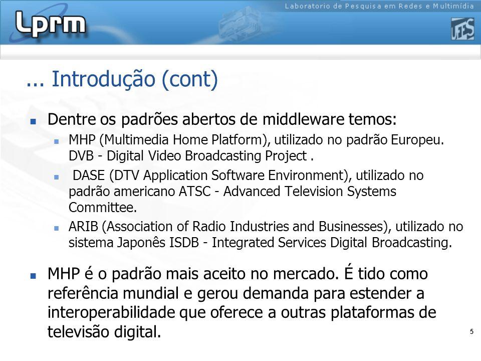 ... Introdução (cont) Dentre os padrões abertos de middleware temos: