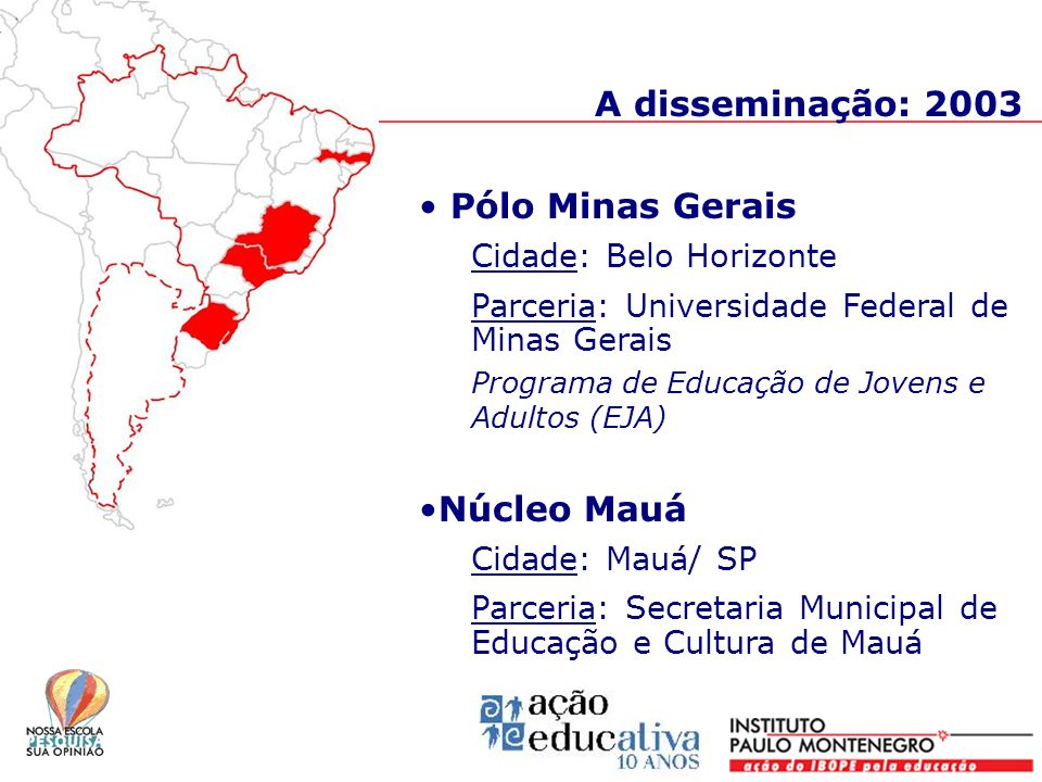 A disseminação: 2003 Pólo Minas Gerais Núcleo Mauá