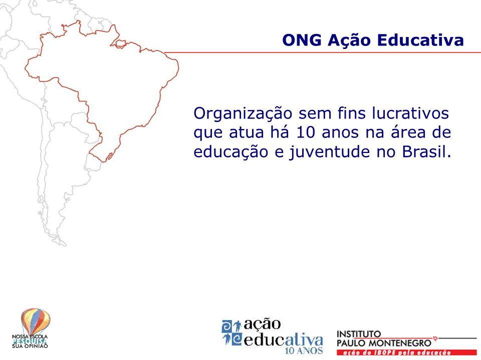ONG Ação Educativa Organização sem fins lucrativos que atua há 10 anos na área de educação e juventude no Brasil.