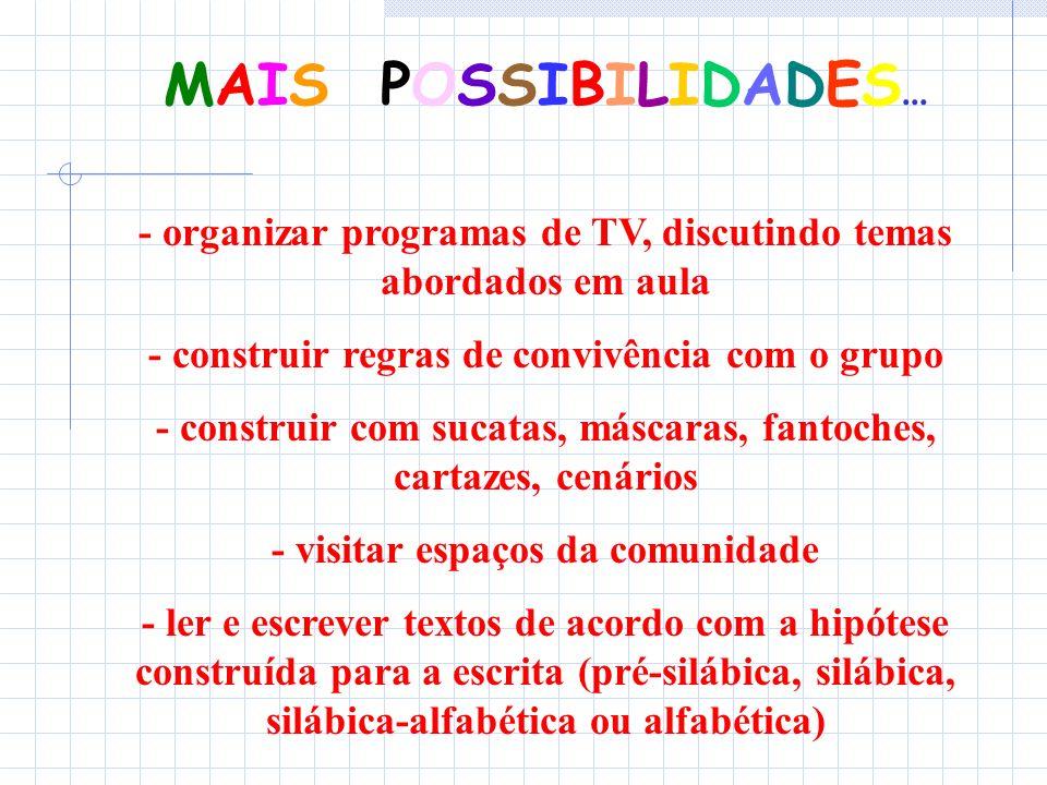 MAIS POSSIBILIDADES... - organizar programas de TV, discutindo temas abordados em aula. - construir regras de convivência com o grupo.