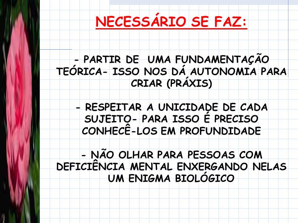 NECESSÁRIO SE FAZ: - PARTIR DE UMA FUNDAMENTAÇÃO TEÓRICA- ISSO NOS DÁ AUTONOMIA PARA CRIAR (PRÁXIS)
