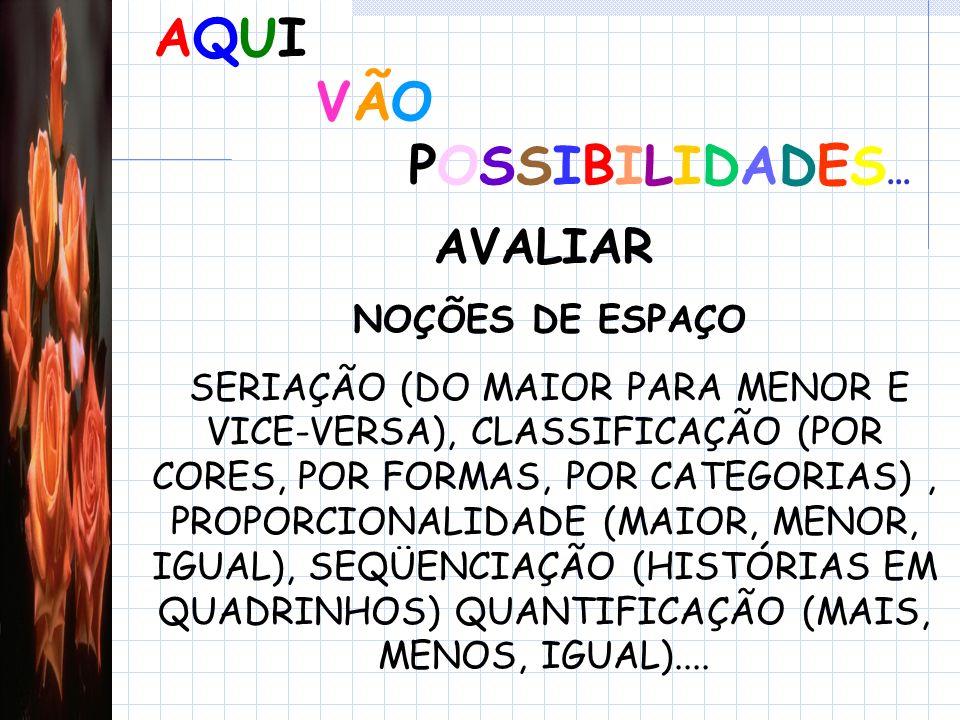AQUI VÃO POSSIBILIDADES... AVALIAR NOÇÕES DE ESPAÇO
