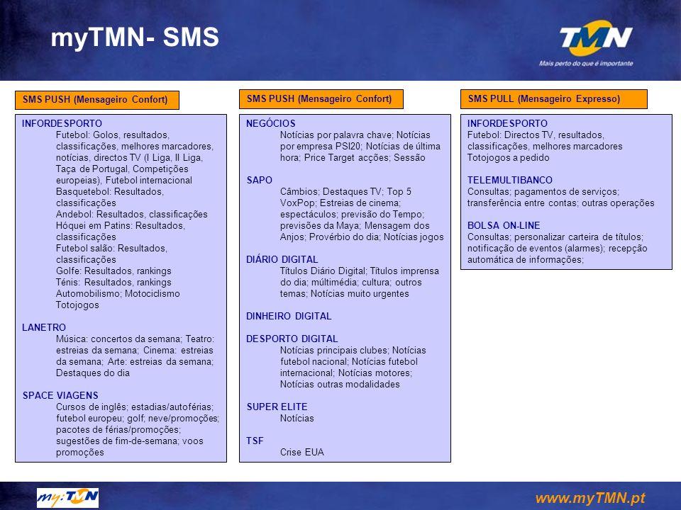 myTMN- SMS SMS PUSH (Mensageiro Confort) SMS PUSH (Mensageiro Confort)