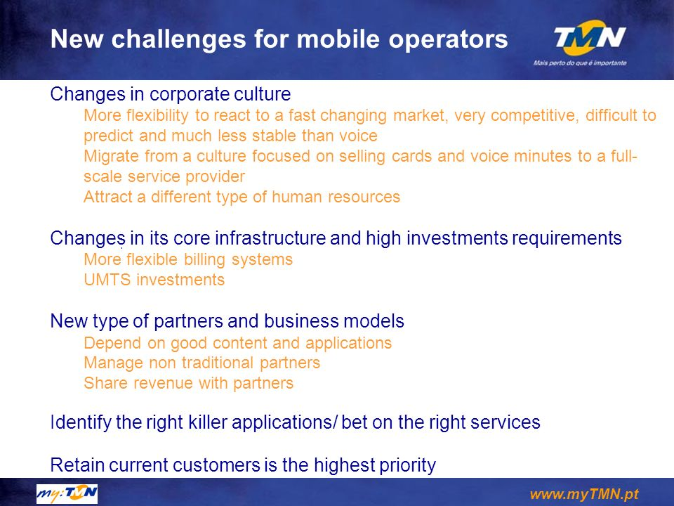 New challenges for mobile operators