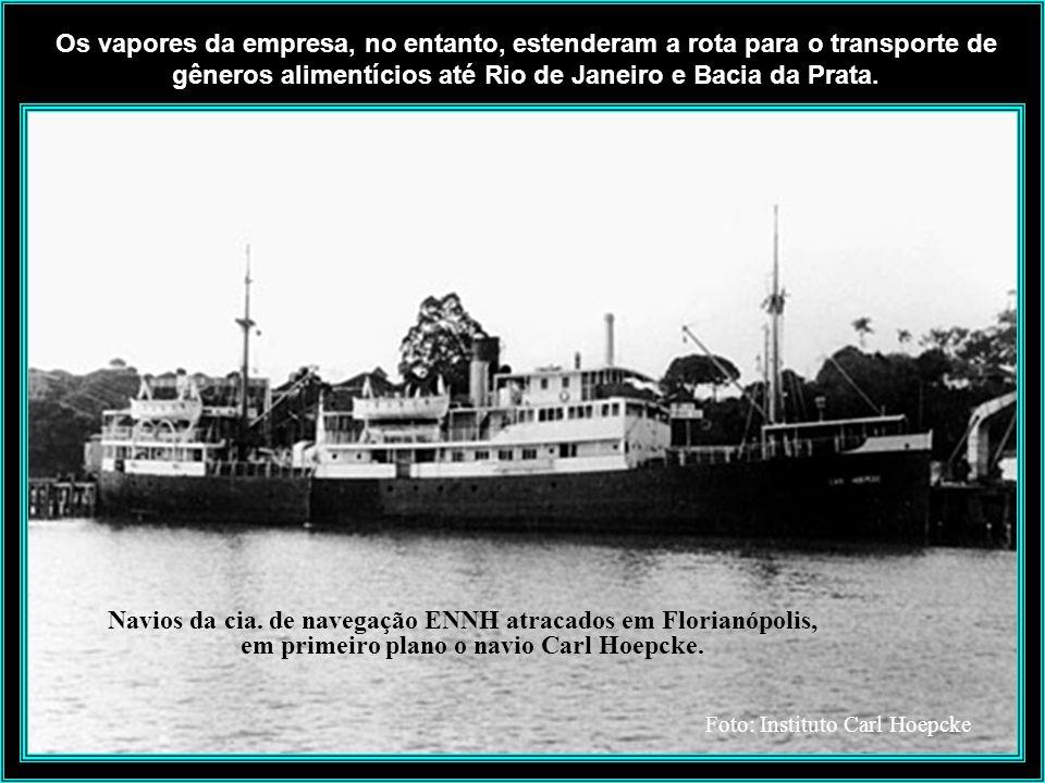 Os vapores da empresa, no entanto, estenderam a rota para o transporte de gêneros alimentícios até Rio de Janeiro e Bacia da Prata.