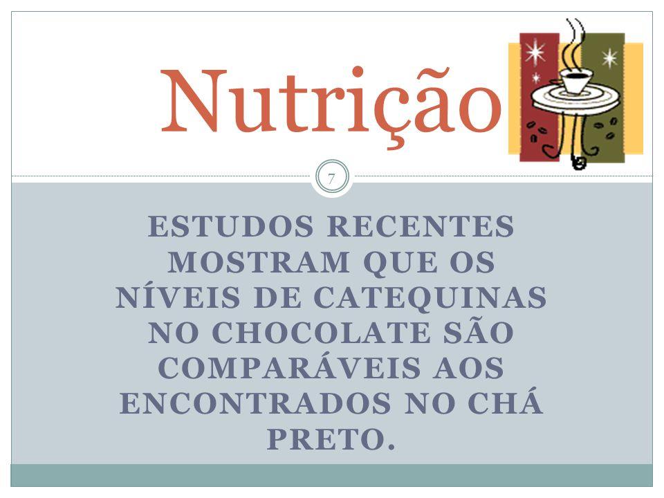 Nutrição ESTUDOS RECENTES MOSTRAM QUE OS NÍVEIS DE CATEQUINAS NO CHOCOLATE SÃO COMPARÁVEIS AOS ENCONTRADOS NO CHÁ PRETO.