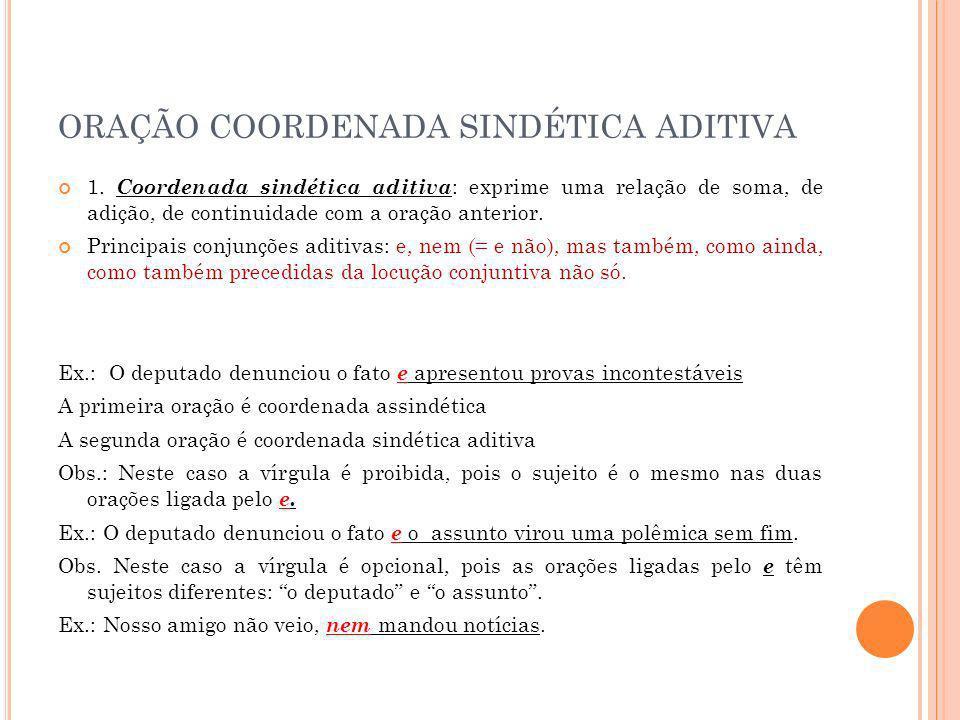 ORAÇÃO COORDENADA SINDÉTICA ADITIVA