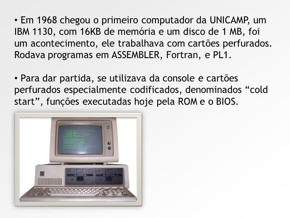 Em 1968 chegou o primeiro computador da UNICAMP, um IBM 1130, com 16KB de memória e um disco de 1 MB, foi um acontecimento, ele trabalhava com cartões perfurados. Rodava programas em ASSEMBLER, Fortran, e PL1.