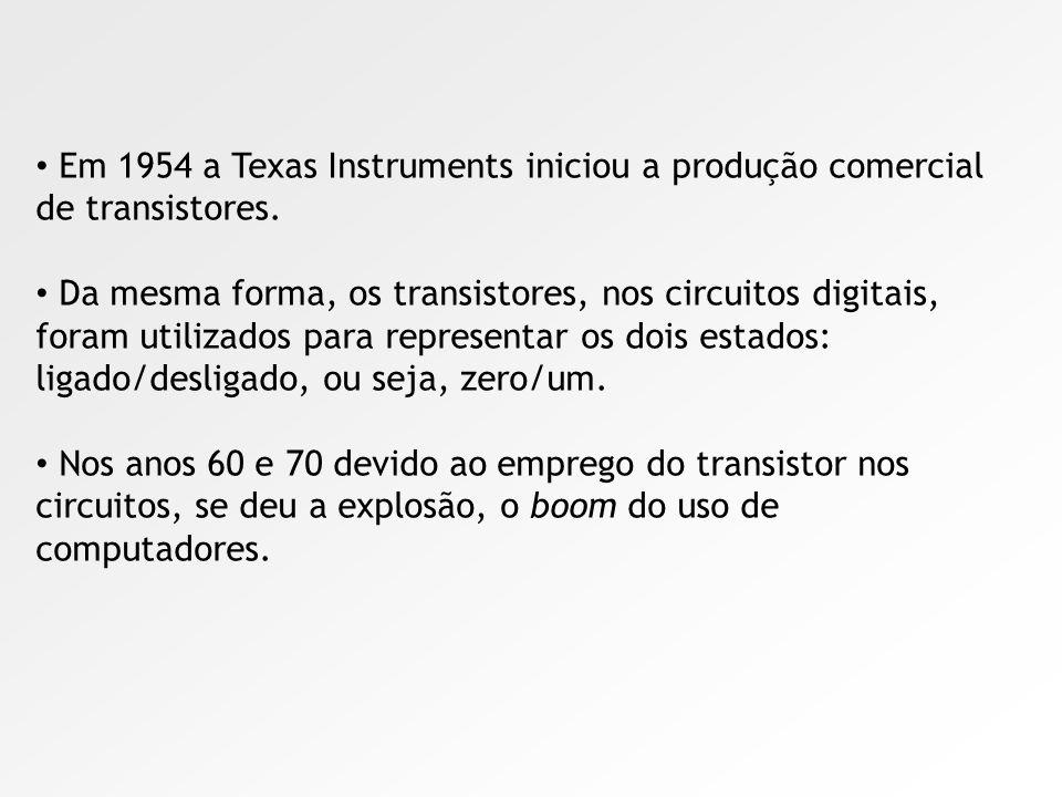 Em 1954 a Texas Instruments iniciou a produção comercial de transistores.