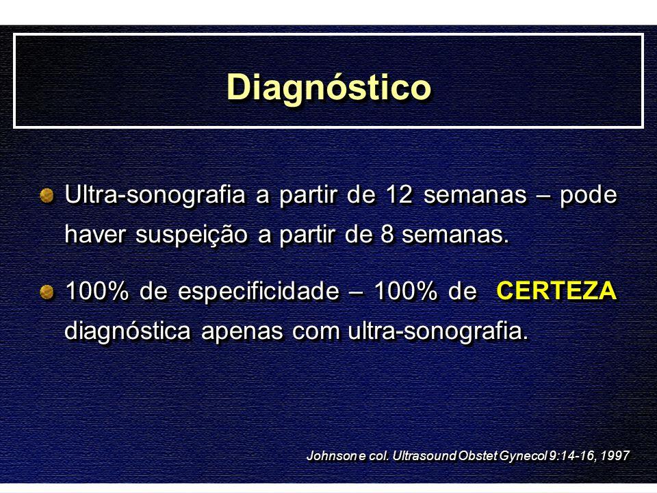 Diagnóstico Ultra-sonografia a partir de 12 semanas – pode haver suspeição a partir de 8 semanas.