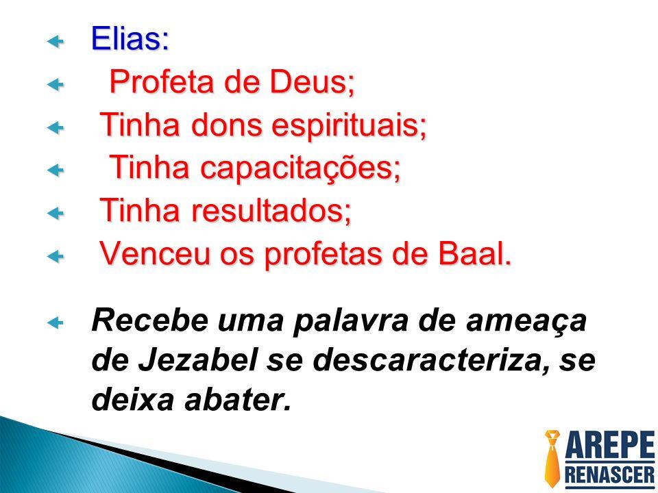 Elias: Profeta de Deus; Tinha dons espirituais; Tinha capacitações; Tinha resultados; Venceu os profetas de Baal.