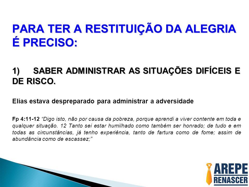 PARA TER A RESTITUIÇÃO DA ALEGRIA É PRECISO: