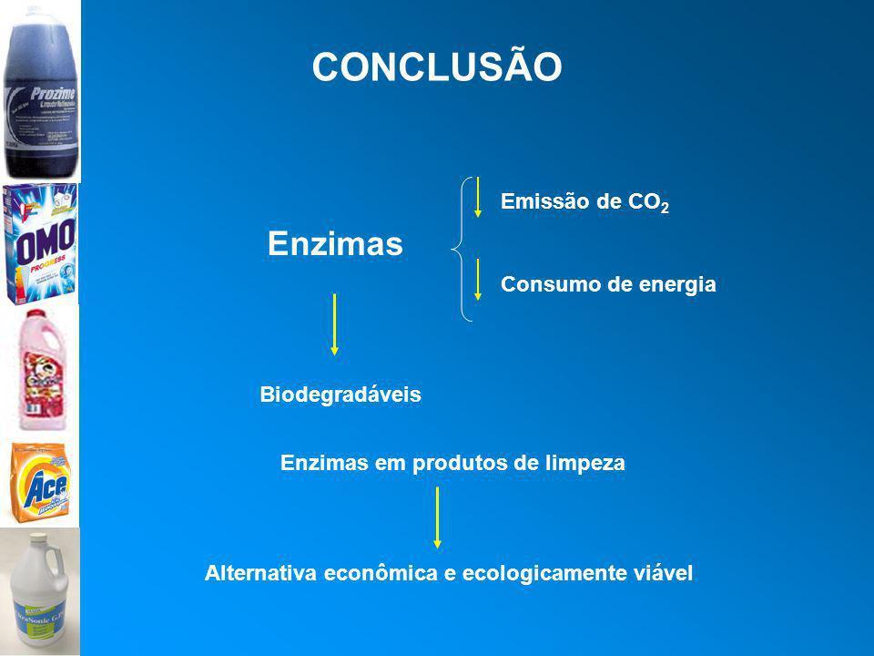 CONCLUSÃO Enzimas Emissão de CO2 Consumo de energia Biodegradáveis