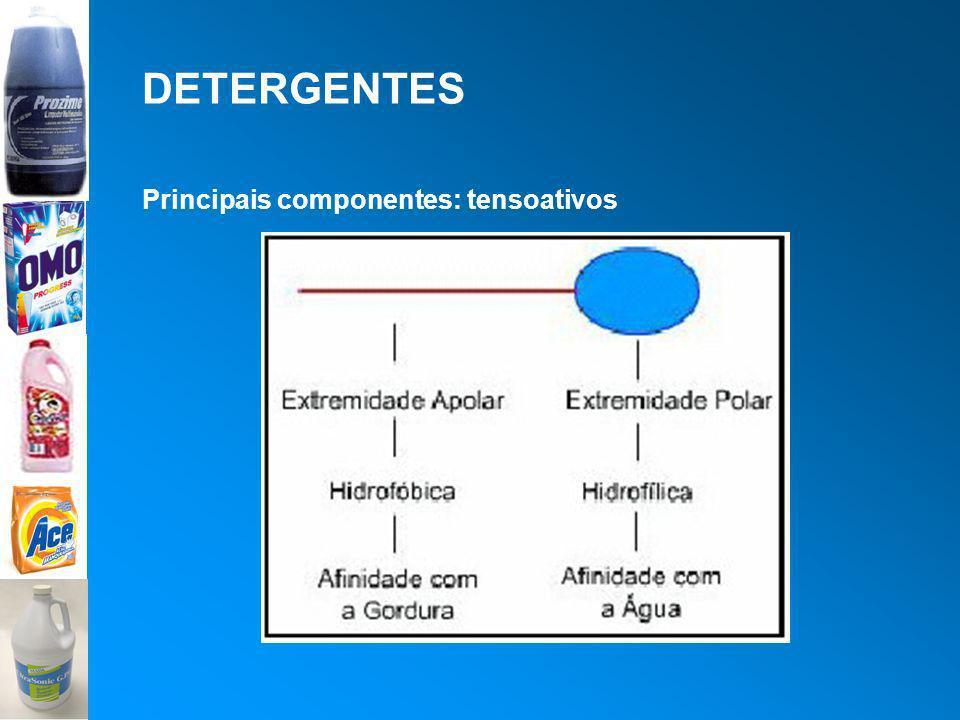 DETERGENTES Principais componentes: tensoativos