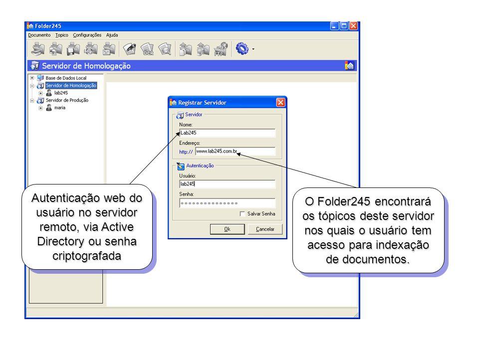 Autenticação web do usuário no servidor remoto, via Active Directory ou senha criptografada