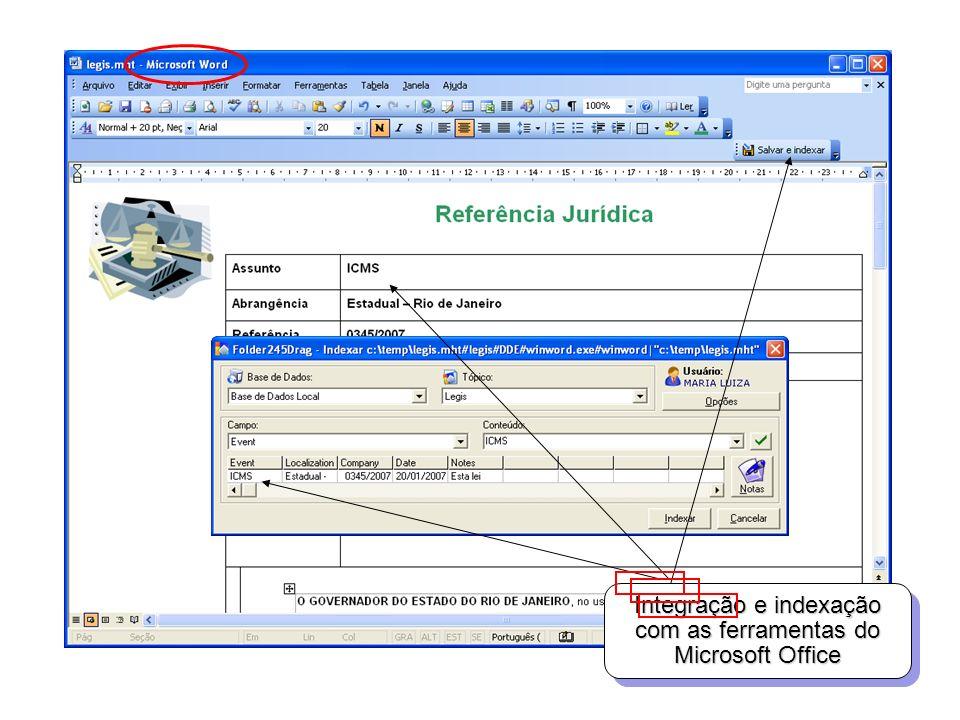 Integração e indexação com as ferramentas do Microsoft Office