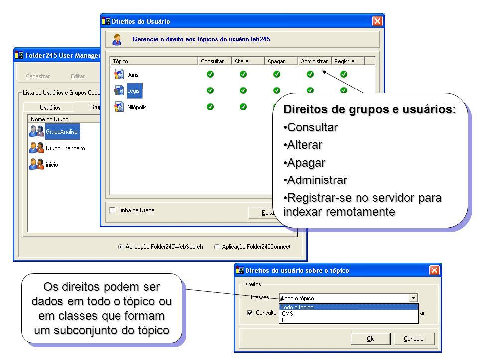 Direitos de grupos e usuários: Consultar Alterar Apagar Administrar