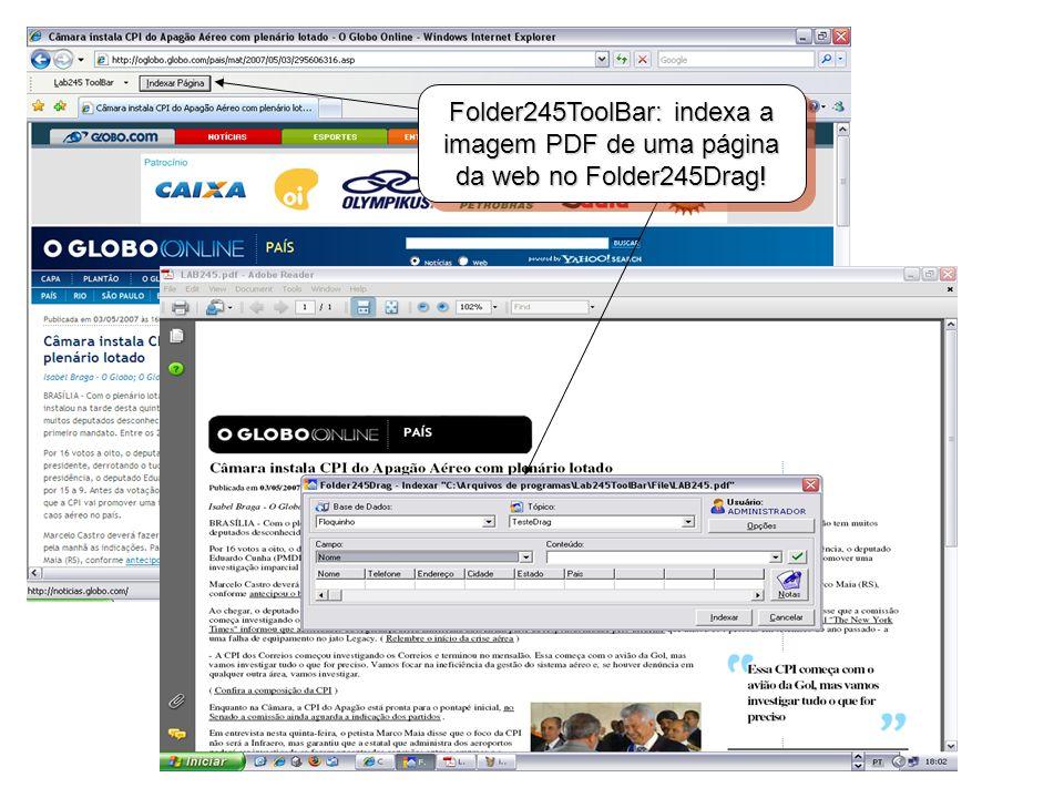Folder245ToolBar: indexa a imagem PDF de uma página da web no Folder245Drag!