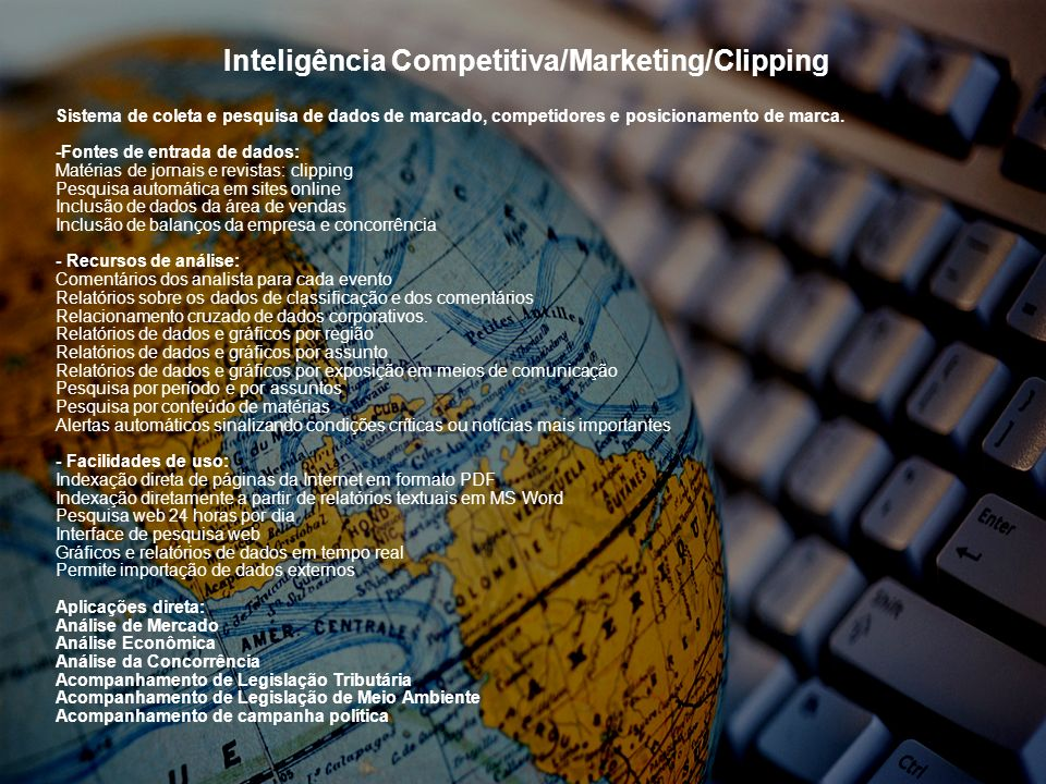 Inteligência Competitiva/Marketing/Clipping