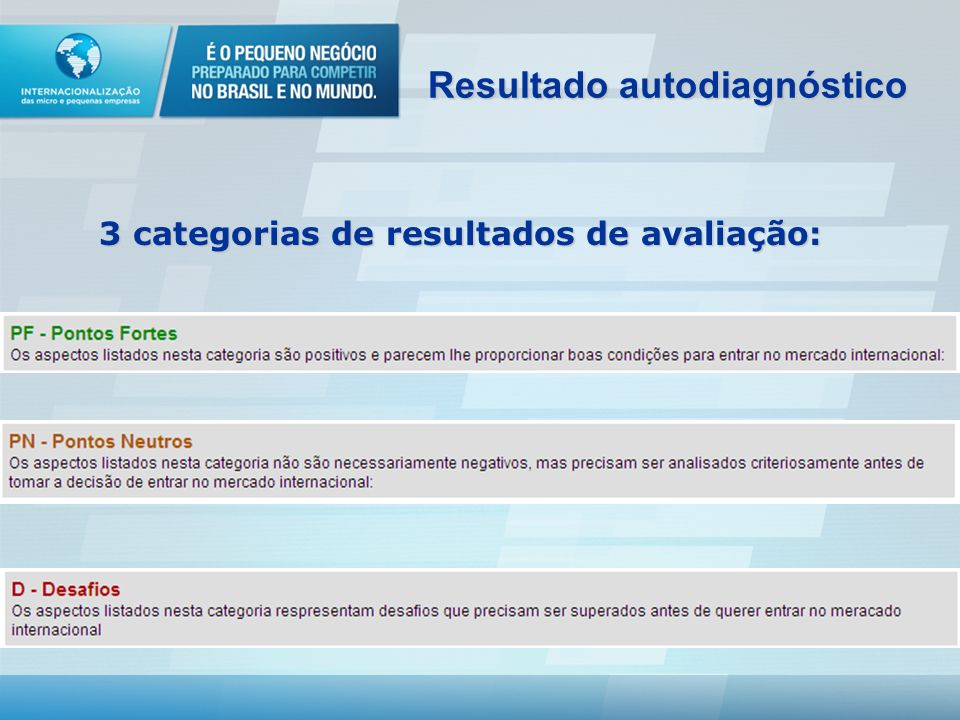 Resultado autodiagnóstico 3 categorias de resultados de avaliação:
