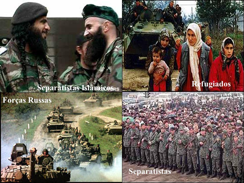 Separatismo Russo - Chechênia Refugiados Separatistas Islâmicos Forças Russas Separatistas