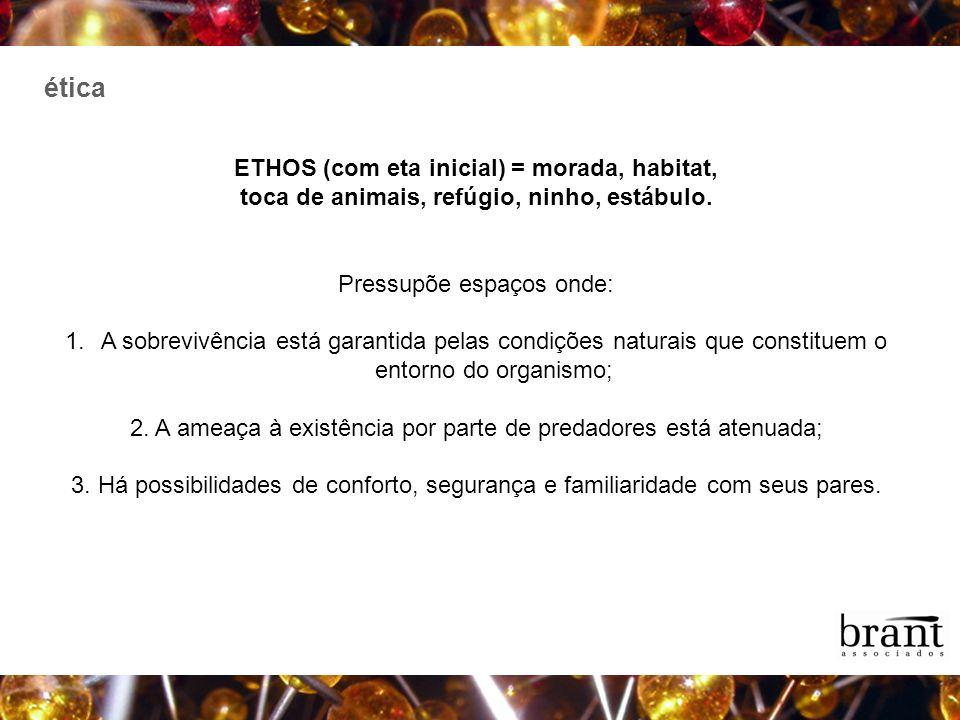 ética ETHOS (com eta inicial) = morada, habitat,