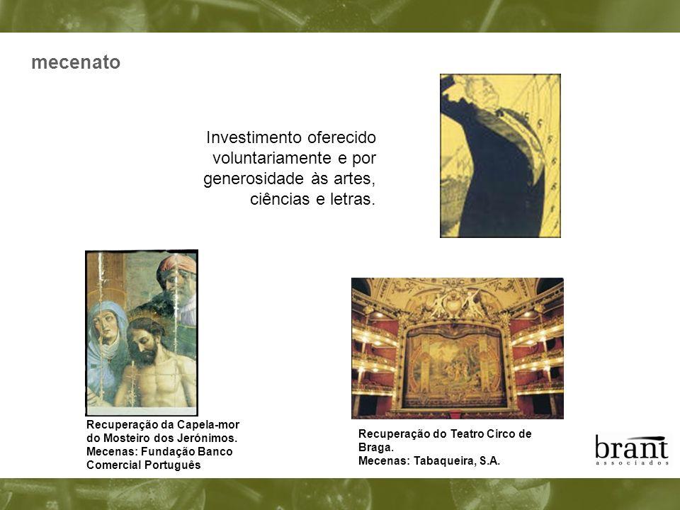 mecenato Investimento oferecido voluntariamente e por generosidade às artes, ciências e letras.