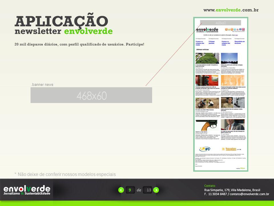 APLICAÇÃO newsletter envolverde www.envolverde.com.br