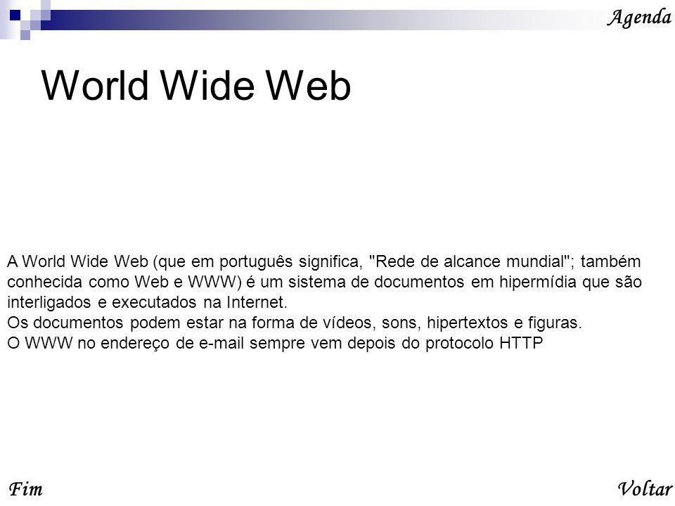 World Wide Web Agenda Fim Voltar