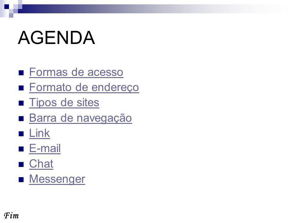 AGENDA Formas de acesso Formato de endereço Tipos de sites