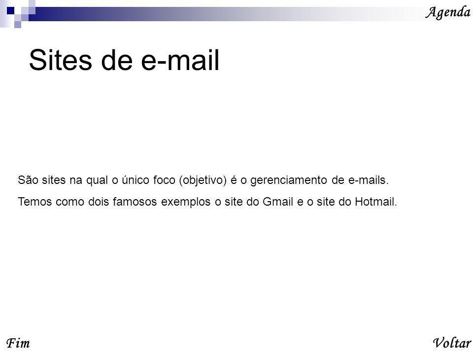 Sites de e-mail Agenda Fim Voltar