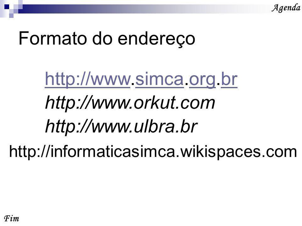 Formato do endereço http://www.simca.org.br http://www.orkut.com