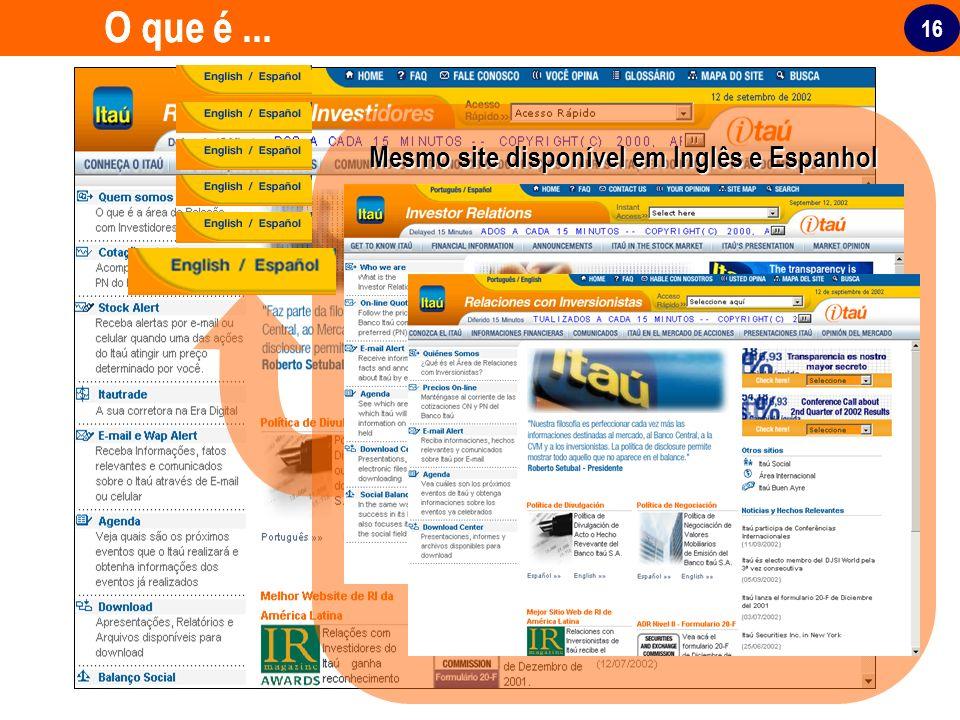Mesmo site disponível em Inglês e Espanhol