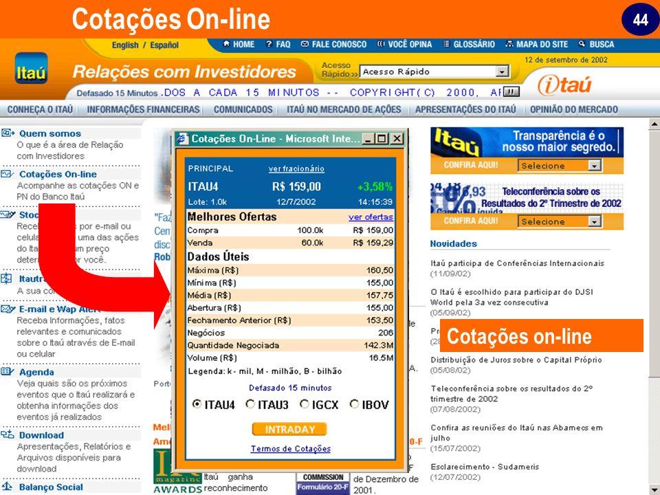 Cotações On-line Cotações on-line