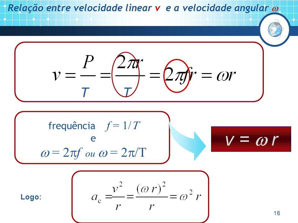 Relação entre velocidade linear v e a velocidade angular 