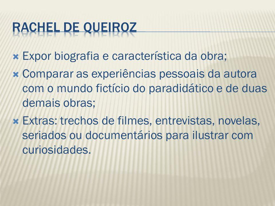 Rachel de Queiroz Expor biografia e característica da obra;